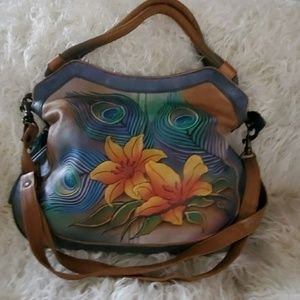 "Anushchka ""Peacock"" Leather Handbag and Wallet"